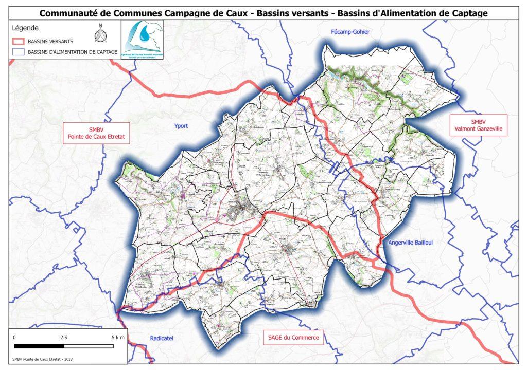 Carte des syndicats mixtes des bassins versants